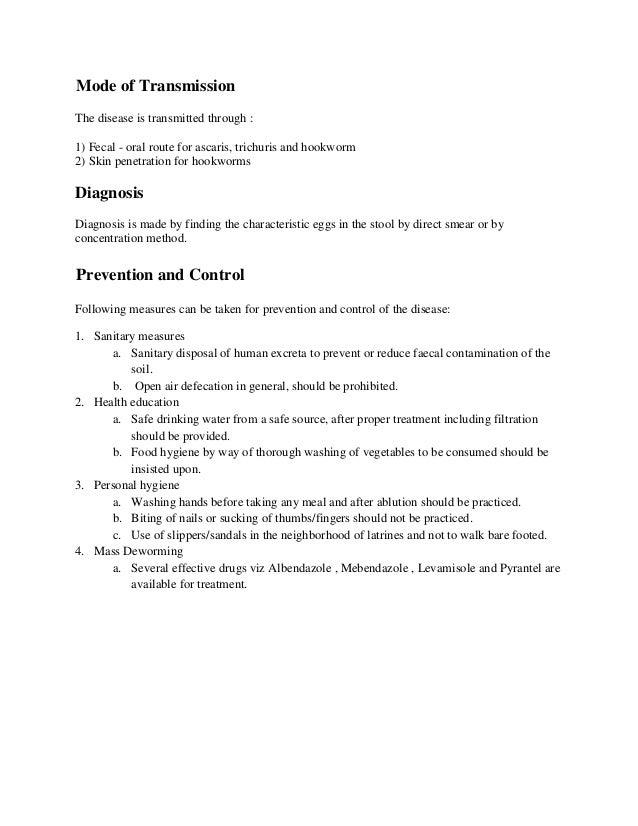 a helmintusok és a helminthiasis megelőzése